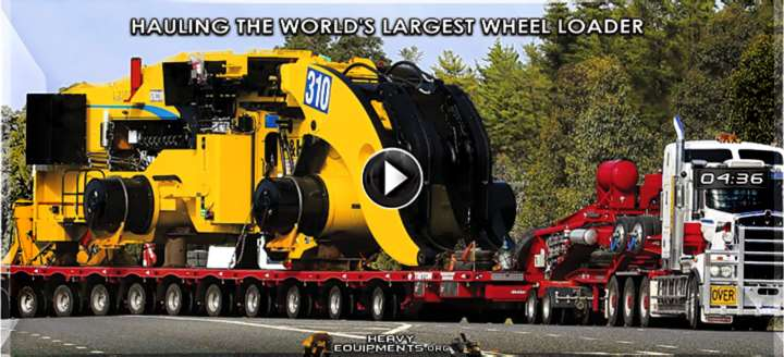 Lowboy Hauling the World's Largest Wheel Loader Video